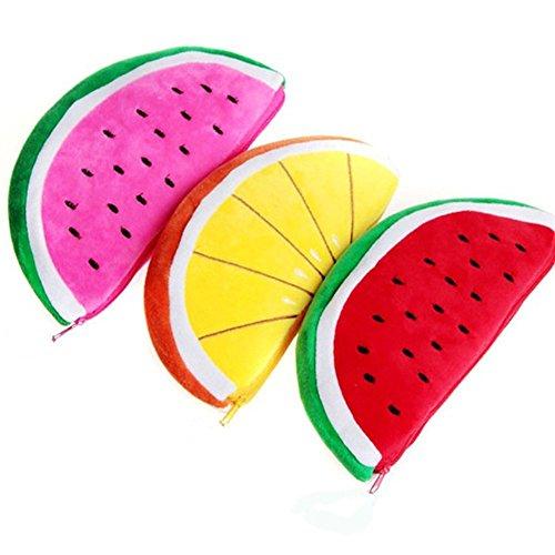 Lumanuby 3X Süße Plüsch Wassermelone und Orange Stifttasche Weich Obst Kosmetiktasche für Make-up Pinsel, Mascara Lippenstifte Oder Stifte, Mäppchen Serie Size 22 * 12cm