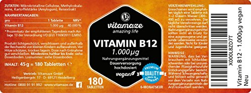 Vitamin B12 hochdosiert Methylcobalamin 1000 µg 180 Tabletten vegan 6 Monatsvorrat Qualitätsprodukt-Made-in-Germany ohne Magnesiumstearat, jetzt zum Aktionspreis und 30 Tage kostenlose Rücknahme! 1 er Pack (1 x 45 g) - 4