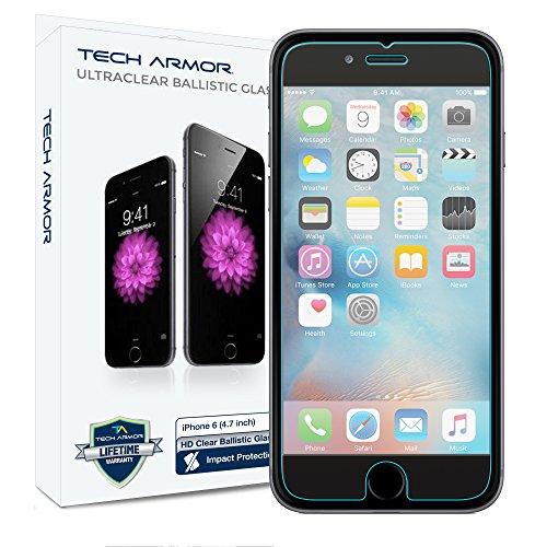Protettore antiproiettile per schermi in vetro di alta qualità Tech Armor per Apple iPhone 6- Proteggi gli schermi contro graffi e gocce - Massimizza il valore di rivendita - 99.99% Trasparenza e precisione