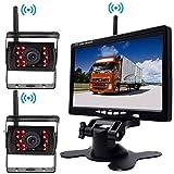 Cámara de respaldo inalámbrica Vehículo 2 x Sistema de estacionamiento 18 IR LED Visión nocturna + 7 'TFT LCD HD 800 x 480 Monitor en color para RV Camión Remolque Autobús