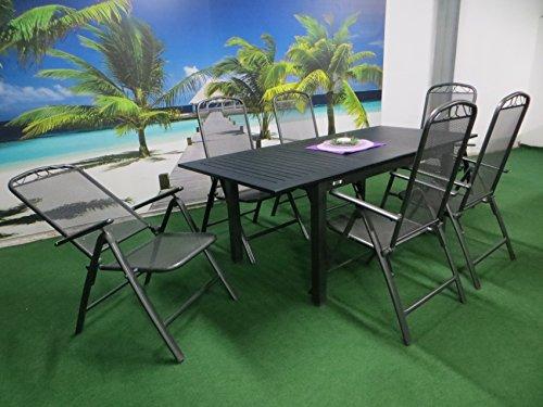 7-teilige Luxus Aluminium Streckmetall Gartenmöbelgruppe 'Doppler RRR' , Klappsessel und Ausziehtisch Detroit 150/210x90 anthrazit, P5