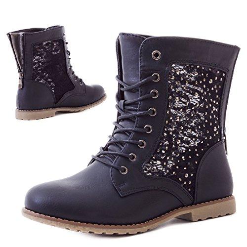 Marimo24 Damen #Trendboot Stiefel Stiefeletten Worker Boots mit Spitze in hochwertiger Lederoptik Übergrößen bis 43 #Glitzer Schwarz