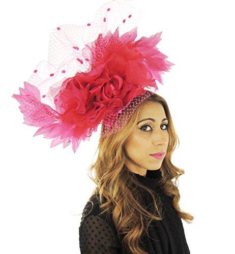 Superbe kamadhoo Grand Ascot Derby Bibi Chapeau–avec bandeau–Disponible en 30couleurs Rose - Rose fluo