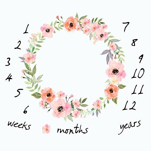 Monatliche Baby Milestone Decke Foto Requisiten Shoots Hintergrund, Wiederverwendbar Infant Baby Einschlagdecke für die Fotografie (Kalender-buch Monatlich)