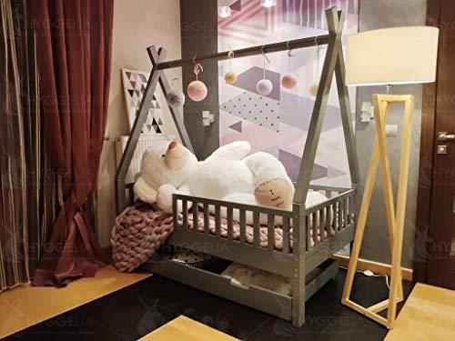 Cottage Mit 3 Schubladen (Hyggelia Tipi Bett aus Holz mit Schutzbarrieren und Zwei Schubladen, Kinderbett, für Jugendliche, Schlafzimmermöbel, Cottage Bett, Hausbett (80 x 160cm, Natürliches Holz))