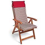 Detex Stuhlauflage Vanamo | 6er Set Wasserabweisend | Hochlehner Auflage Sitzauflage Stuhlkissen Polsterauflage Rot Weiß