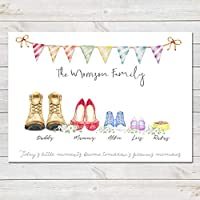 Shoe Family Feet Print, Custom Quote, Personalised Wall Art Gift A3 or A4