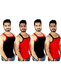 ZIMFIT Men's Cotton Vest Pack of 4 (111) - (Black_Red_Black_Red)