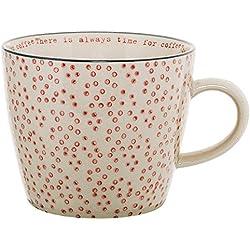 Bloomingville Cecile Tasse mit Henkel handbemalt Kaffeetasse rosa gepunktet
