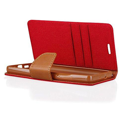 EGO® Luxury Etui Tipo Libro Carcasa con Función de Soporte para iPhone 6 / 6s Gris Flip case fermeture magnetique etui avec pochettes pour cartes Porte-billets, protection canvas Rot