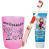 wellsamed wellsakids Zahnpflegeset Eiskönigin 3-teilig für Kinder Set Mädchen rosa
