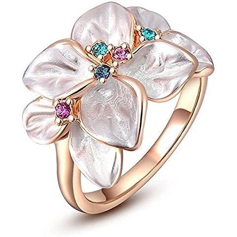 Da donna placcato in oro rosa 18/platino Pied cristalli con petali di fiori ciondolo anello - Diamond Ring: Platinum Diamond Band
