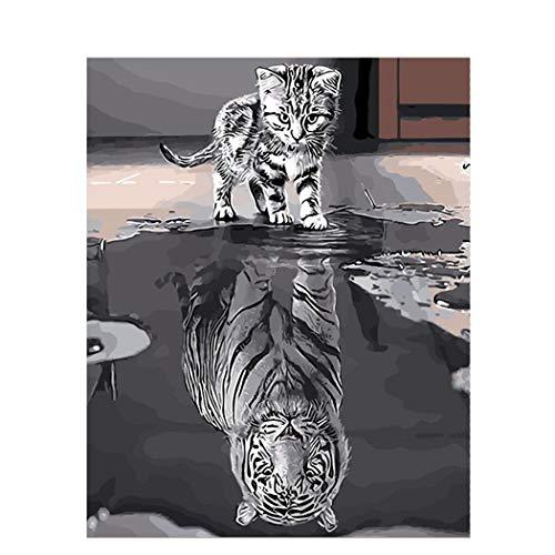 DAMENGXIANG DIY Handgemalte Digitale Ölgemälde Reflexion Tier Katze Und Tiger Moderne Abstrakte Kunst Bilder Für Wohnzimmer Home Decor 40 × 50 cm Mit Rahmen