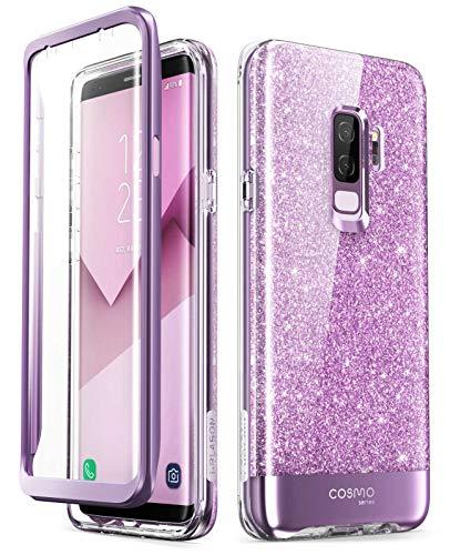i-Blason Hülle Kompatibel für Samsung Galaxy S9 Plus Glitzer 360 Grad Handyhülle Bumper Case Glänzend Schutzhülle Full Cover [Cosmo] mit integriertem Displayschutz, Lila