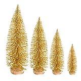 Garneck 4 Piezas de Mesa Mini árbol de Navidad Esmerilado Adornos de decoración de árbol de Navidad Dorado