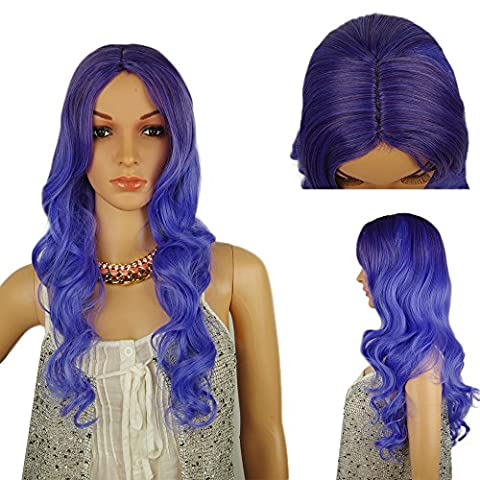 Spretty Womens Mid Part Long Curly Wavy Dark Purle Gardient Light Wig for Pub/Bar and Cosplay Dress