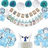 Howaf 1er Anniversaire Garçon Décoration, 1er Anniversaire Banderole Guirlande bébé 1-12 Mois Bannière de Photo et Pompons en Papier Ballon Anniversaire 1 an Garçon Décoration (Bleu)