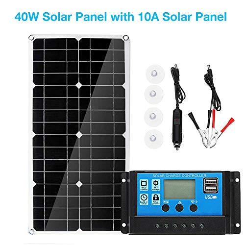 40W 10A Solarpanel Kit Solarladegeräte wasserdichte Power Bank Polykristalline Solarmodule Tragbares Solar Panel Mit USB Anschluss Für Outdoor Camping Wandern, 540x280x2.5mm