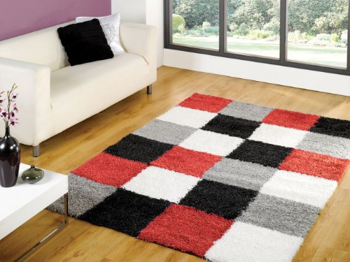 Large Quality Shaggy Rug in Red Grey 160 x 230 cm (5'3