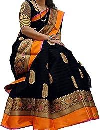 Macube Women Bhagalpuri Silk Saree With Blouse Piece(MS1824_BLACK_Free Size)