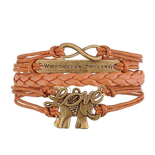 Jiayiqi Bijoux Mode Infini Amour éléphant Multicouche Artisanat Cuir Bracelet Idée Cadeau Brun