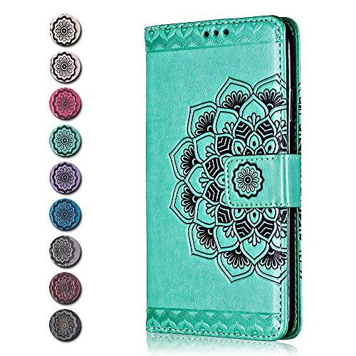 Galaxy S10 Hülle, CAXPRO® Leder Schutzhülle mit Klappfunktion, Magnetisch Verschluss Handyhülle für Samsung Galaxy S10, Kratzfestes Tasche, Grün