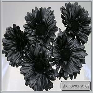 5x Fleurs Artificielles Soie Gerbera Noir