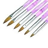 Lovenails Acryl Pinsel Set 6-teilig I Marmorierter Griff für Acrylmodellage I 6 verschiedene Größen für Nailart