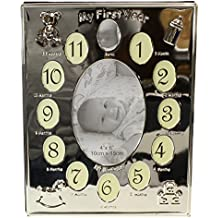 Silver Plated ' My First Year ' Photo Frame Babys First Birthday Christening Gift - Holds 13 photos