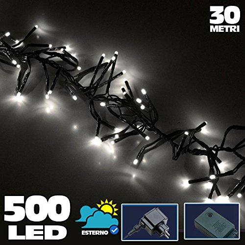 Bakaji Lighting Catena Luminosa 500 Luci LED Lucciole BIANCO FREDDO Ghiaccio Controller 8 Funzioni Impermeabile Antipioggia per uso Interno ed Esterno, Luci di Natale, Cavo Verde, Luci per Albero di Natale