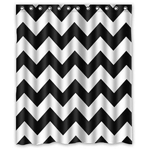 Dream Außerhalb Chevron Muster Schwarz Weiß Wasserdicht Badezimmer Stoff Duschvorhang, Bad Decor 152,4cm (W) X 182,9cm (H) (Schwarz Chevron Duschvorhang Set)