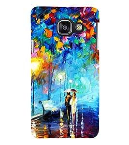 Fiobs Designer Back Case Cover for Samsung Galaxy A3 (6) 2016 :: Samsung Galaxy A3 2016 Duos :: Samsung Galaxy A3 2016 A310F A310M A310Y :: Samsung Galaxy A3 A310 2016 Edition (Girl Boy Rain Water Bench light Colourful)