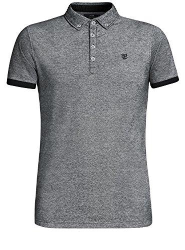 oodji Ultra Herren Poloshirt mit Kontrastbesatz auf Den Ärmeln Grau (2910J)