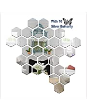 Wall1ders - Hexagon-Silver Size 10.5 x 12 cm (Pack of 31 with 10 Butterflies) 3D Acrylic Mirror Wall Stickers for Living Room, Hall, Bed Room & Home