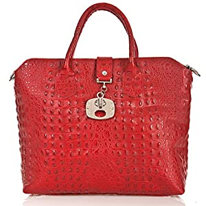 italienische Damen Handtasche Dallas aus echtem Leder in karmin rot, Made in Italy, Shopper Bag 39x30 cm