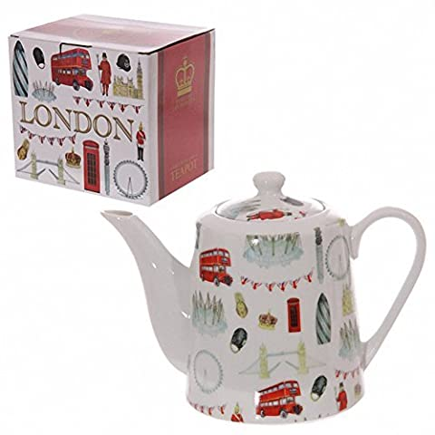 London Landmarks Design Bone China 1 Litre Teapot. A perfect gift for that Birthday Gift, Christmas Present or Fathers day gifts etc... by TTG(PUCK) - General Giftware