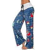 JMETRIC Damen Freizeithose|lose Hosen|Weite Beinhosen|hohe Taillen Hosen|Zugschnur hohe Weihnachtsdruck
