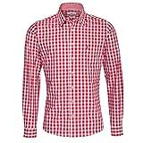 Almsach Fridolin - Camicia per Costume Tradizionale Bavarese, Colore: Azzurro Colore: Rosso L