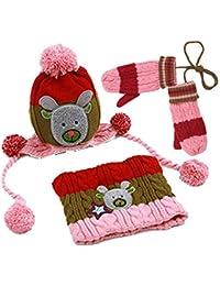 zyyaxky Guanti Sciarpa Cappello per Bambini Tre Pezzi Autunno E Inverno  Ragazzi Marea Versione Coreana del Paraorecchie della Ragazza… b2ad57e71d43