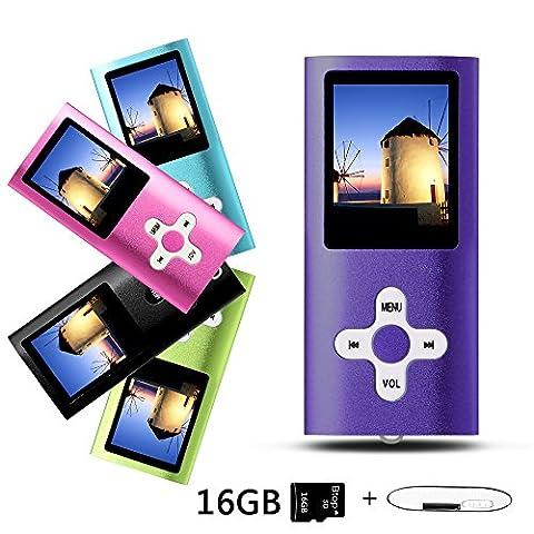 Btopllc MP3 / MP4 Lecteur de carte MP3 16 Go Lecteur de musique Hi-Fi 1,7 pouces Lecteur LCD MP3 / MP4 Lecteur média avec mini port USB / lecteur de musique MP3 Enregistreur vocal Lecteur média - violet