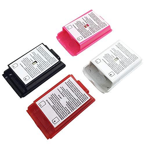 AFUNTA - 4 copribatteria per controller wireless Xbox 360, 4 colori (nero, bianco, rosso, rosa)