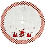 WeRChristmas Karo Santa Design Weihnachtsbaum Rock Dekoration, Stoff, rot/weiß, 107cm