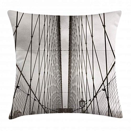 HLKPE New York Throw Pillow Cushion Cover, Brooklyn Bridge Cables and New York City Downtown Skyline Photography Urban, Decorative Square Accent Pillow Case, Dust and Black,18 X 18 Inches New York Satin Bow