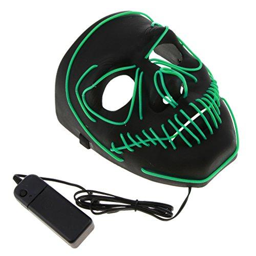 Kostüm Energie Grüne - D DOLITY LED Leuchtende Schädel Maske Skelett Maske Halloween Kostüm Maske mit Batterie Energie Erhalten - Grün