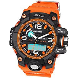 Joefox Herren / Kinder Sport Armbanduhr Orange Harz Band LED Digital Quarz Kalender Alarm Chronograph 5ATM Wasserdicht NO-1523