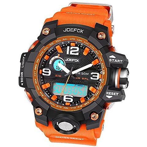 Joefox - NO1523 - Sport - Montre Homme - Quartz LED Digital et Analog - Bracelet Orange - Multi fonctionner Dual Time Zone
