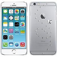 kwmobile Custodia di lusso in strass per > Apple iPhone 6 Plus / 6S Plus < Design vortice farfalla strass argento trasparente