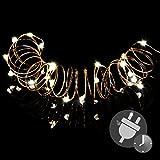 50er Mini LED Lichterkette warm weiß Trafo Timer Weihnachtsdekoration Weihnachtsbaumkette Goldfarbener Draht Partydeko Deko