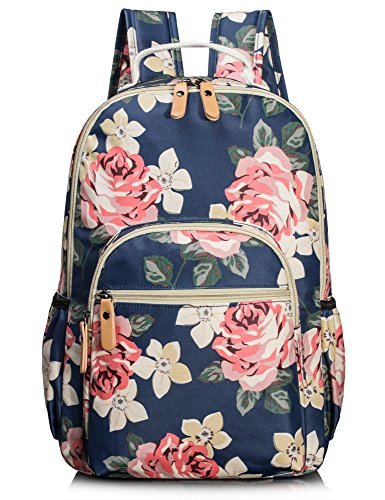 Leaper wasserdichte Leinwand + PVC Schicht Schule Rucksack hübsch floral Laptop Tasche lässig Daypack (Blau1)