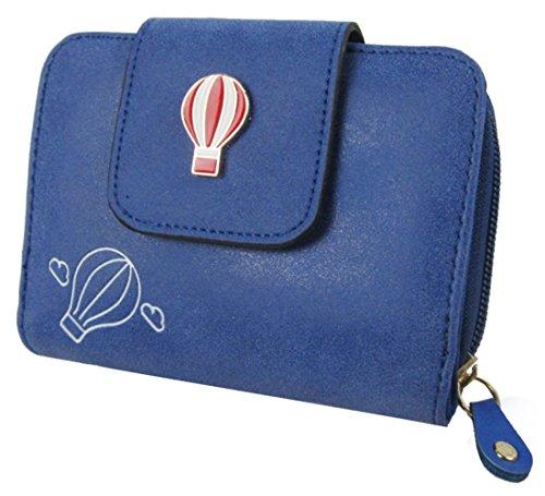 Kukubird In Ecopelle Con Hot Air Baloon Dettaglio & Distintivo Ladies Medio Borsa Clutch Wallet Dark Blue